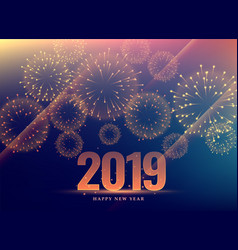 Happy new year 2019 background with fireworks vector