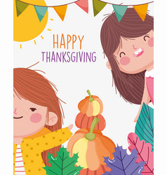 happy thanksgiving family smiling girls with vector image