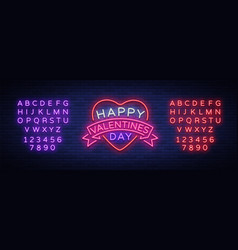 happy valentine s day is a neon sign bright light vector image