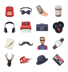 Hipster style set icons in cartoon style Big vector