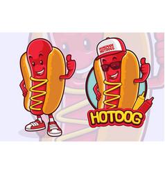 hotdog mascot character design for fast food vector image
