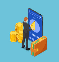 isometric businessman put gold coin into vector image