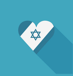 Israel flag icon in heart shape in flat long vector