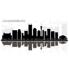 Johannesburg south africa city skyline black and vector