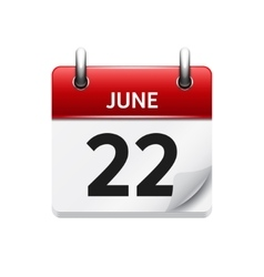 June 22 flat daily calendar icon date vector