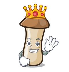 King pleurotus erynggi mushroom mascot cartoon vector