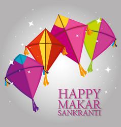 Kites style to makar sankranki celebration vector