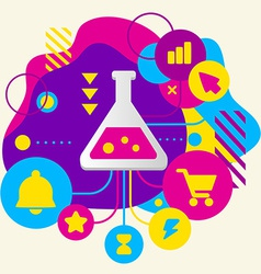 Laboratory flask on abstract colorful spotted vector image