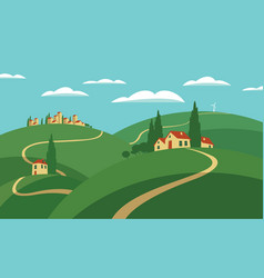 Landscape with hills roads and settlements vector