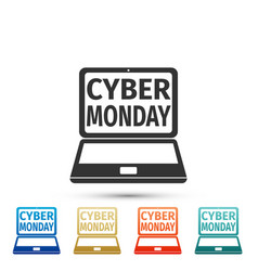 laptop with cyber monday sale text on screen icon vector image
