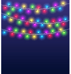 light garlands background christmas party glowing vector image