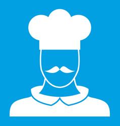 Male chef cook icon white vector