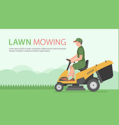 Man on tractor lawnmower vector