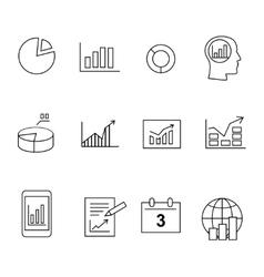 Market analysis diagrams icons vector