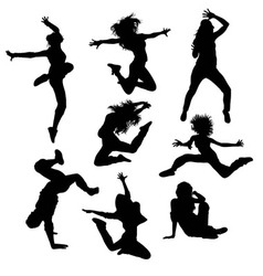 Modern Dance and Hip Hop Silhouettes vector image