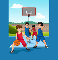 Multi ethnic group of kids playing basketball vector