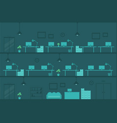 Office at night empty workplace tables monitors vector