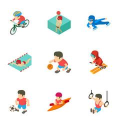 Olympic training icons set cartoon style vector