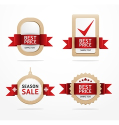 paper banner price tag with ribbon vector image