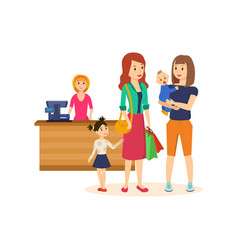 People at grocery store purchased merchandise and vector
