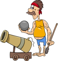 Pirate with cannon cartoon vector