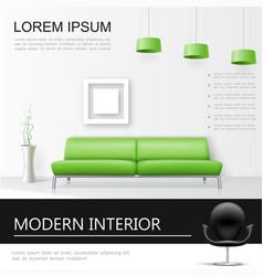 realistic living room interior concept vector image