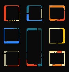 Retro futuristic interface elements vector