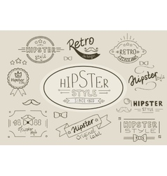 Retro hipster stamps collection vector image