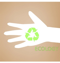 Reuse sign on hand silhouette vector image