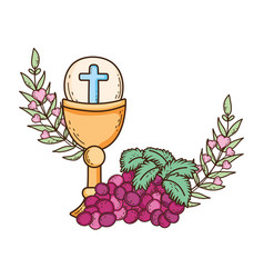 Sacred chalice religious with grapes vector