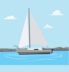 sailing boat on the blue sea with cloud and flat vector image