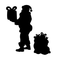santa claus silhouette christmas holiday vector image vector image