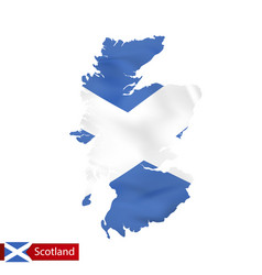 Scotland map with waving flag country vector
