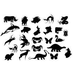 Set cartoon animal silhouettes isolated on whit vector