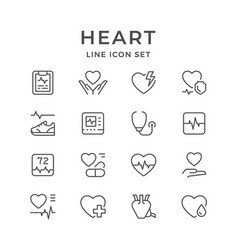 set line icons of heart vector image
