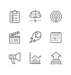 set line icons of start up vector image