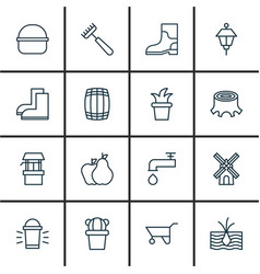 Set of 16 garden icons includes bush pot rubber vector