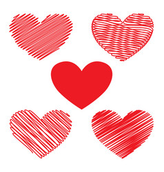 set of red hearts for valentines day vector image