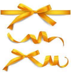set realistic golden ribbons with bows vector image