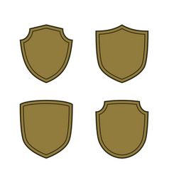 shield shape bronze icons set simple flat logo on vector image