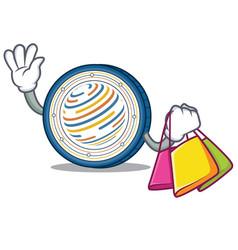 Shopping factom coin character cartoon vector