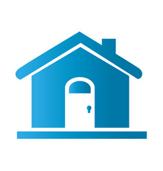 Silhouette facade simple house icon flat vector
