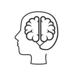 silhouette human brain thinking idea isolated vector image