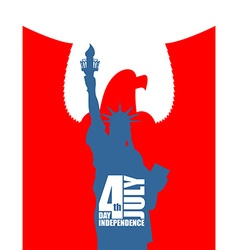 Statue of Liberty on background of red eagle vector image