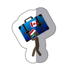 Sticker colorful worker holding up travel luggage vector