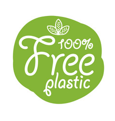 stickers with text - plastic free product sign vector image