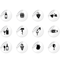 Stickers with wine icons vector image
