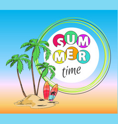 summer time palms and sand vector image