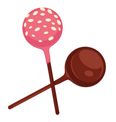 Sweet lollipops covered with chocolate and vector