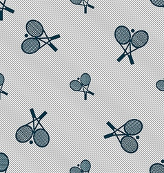 tennis icon sign Seamless pattern with geometric vector image